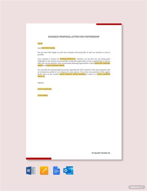 business proposal letter partnership