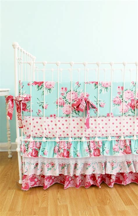 baby girl crib bedding shabby chic roses design by