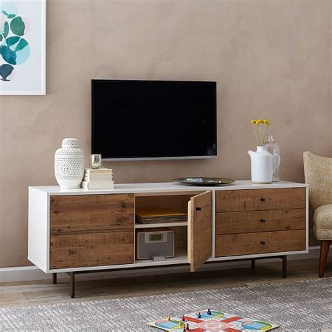 elm media cabinet reclaimed wood lacquer media console elm