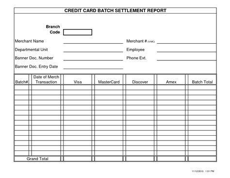 credit card report template printable blank report cards student report