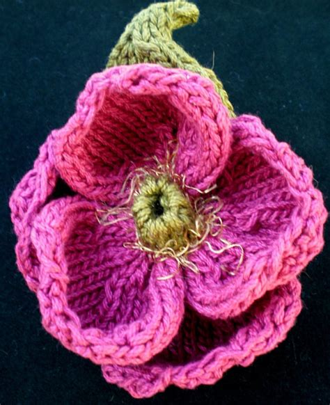 pattern for simple knitted flower instant download pdf knit flower pattern peony knitted