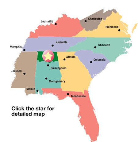 map southern united states map of southeastern united states highlighting