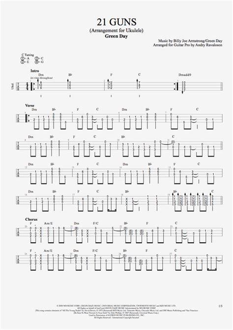 guitar tutorial 21 guns 21 guns by green day solo ukulele guitar pro tab