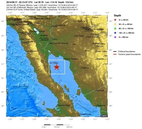 where is the gulf of california located on a map magnitude 4 2 earthquake gulf of california 2014 09 17