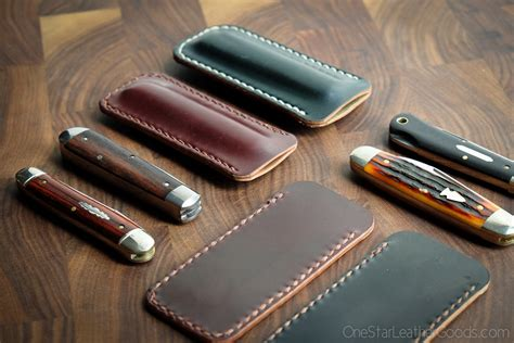 leather knife pocket slips pocket knife slip in horween shell cordovan fits gec