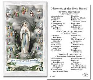 Mysteries of the rosary holy card