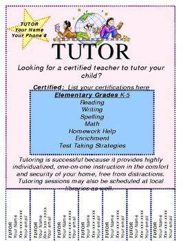 tutor flyer templates free image result for free template for tutoring flyer
