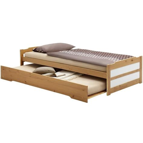 Lit Tiroire Ikea by Lit Gigogne Tiroir Lit 90 X 200 Cm Miel Et Blanc Achat