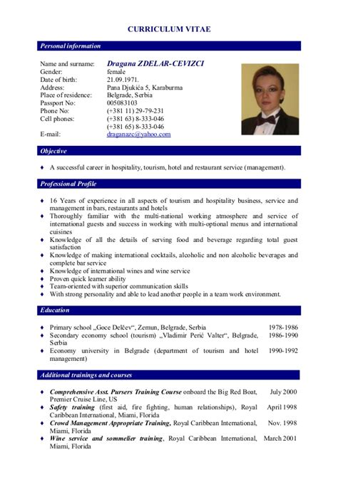 Cv In For Waiters Curriculum Vitae Dragana Zdelar