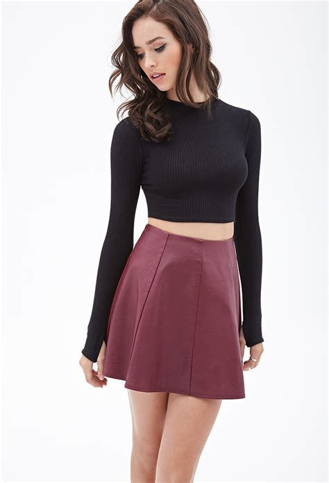 forever 21 faux leather skater skirt you ve been added to