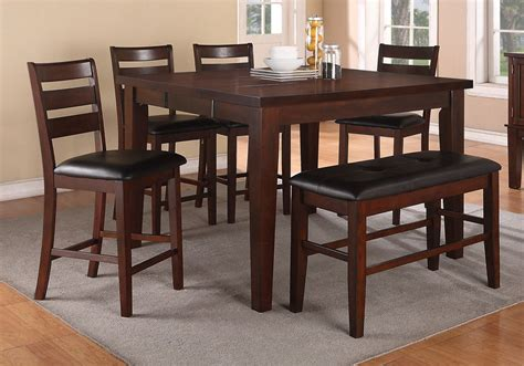 counter height rectangular table sets 6 pc counter height dining set rectangular table leaf pu