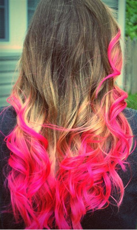 hairstyle ideas for dip dyed hair hot pink dip dye hair colorful hair pinterest pink