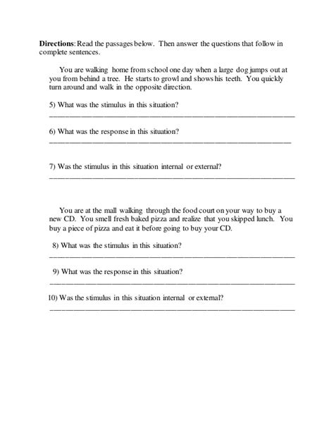 Stimulus And Response Worksheet Answers by Stimulus And Response Worksheet