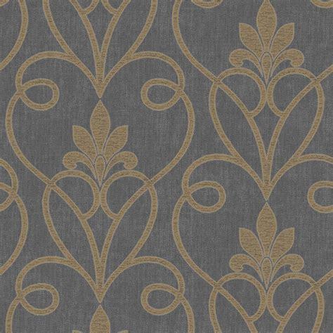 black damask wallpaper home decor fine decor tuscany damask wallpaper black gold fd40466