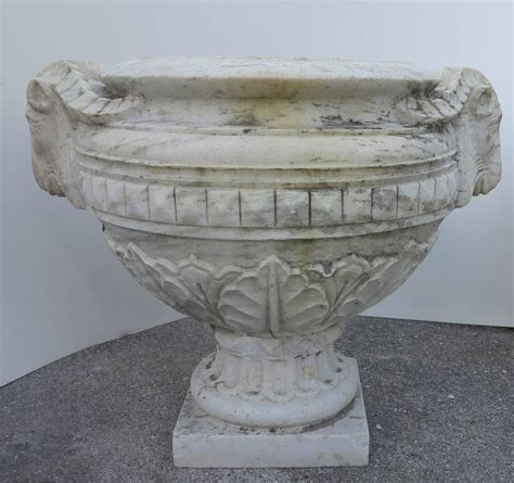 large head planters 19th century large carved marble ram head urns planters