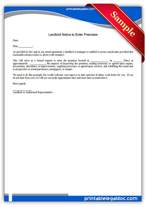 Records Notices Free Printable Landlord Notice To Enter Premises Form Generic