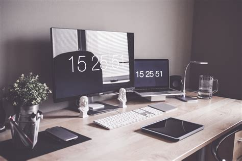 minimalist home office workspace desk setup free stock