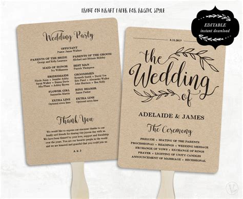 printable wedding fan program template this instant