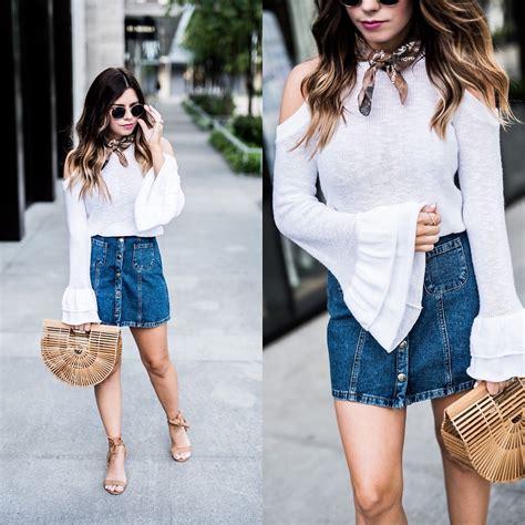 flaunt and center express blouse denim skirt lookbook