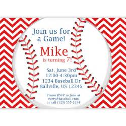 baseball invitation red stripe chevron baseball by