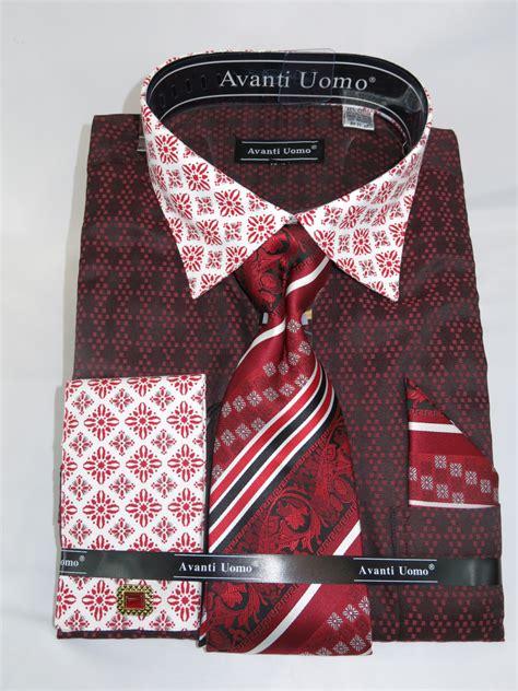 shirt pattern inside collar avanti uomo dn69m quot red burgundy quot men s french cuff dress