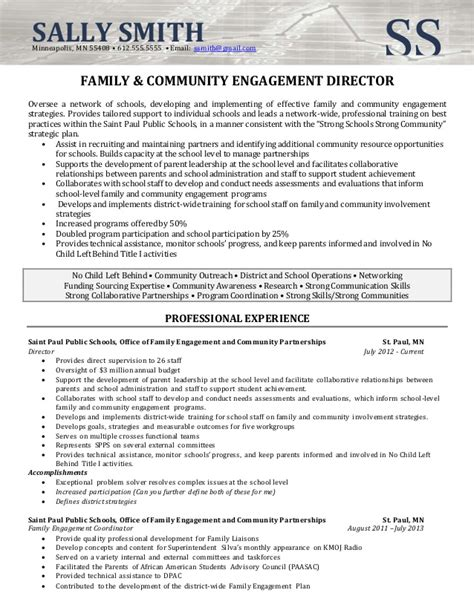 community engagement cover letter resume sle director of community involvement