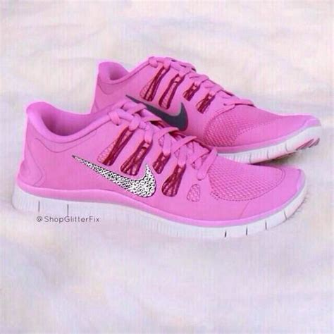 pink glitter nike free runs shoes for