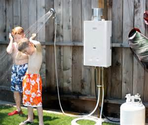 how you can heat the water for an outside shower room
