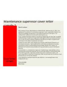 basic maintenance supervisor cover letter sles and