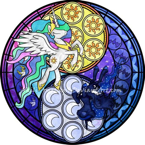 mlp nightmare moon stained glass stained glass sunrise moonrise vector recolor by