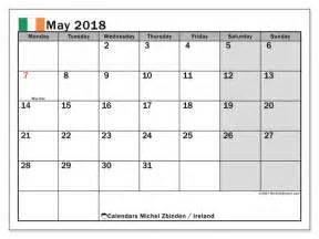 Calendar 2018 Holidays Ireland Calendar May 2018 Ireland