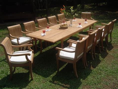 large teak dining sets mediterranean patio