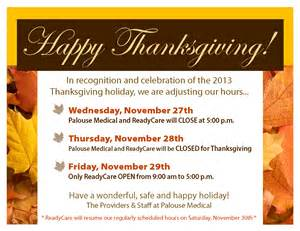 thanksgiving weekend 2013 thanksgiving 2013 office hours palouse medical