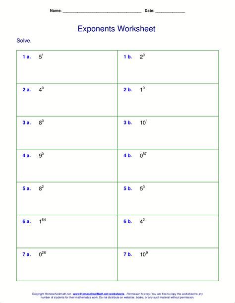 Negative Exponents Worksheet With Answers by Worksheets For Negative And Zero Exponents