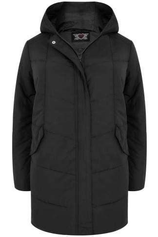 Black Padded Puffer Jacket With Hood, Plus size 16 to 36