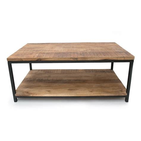 lef collections industrial brown metal black wood coffee