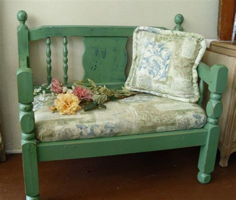 Shabby Chic Upholstered Seat Bench By Vintageappletreasure Shabby Chic Benches