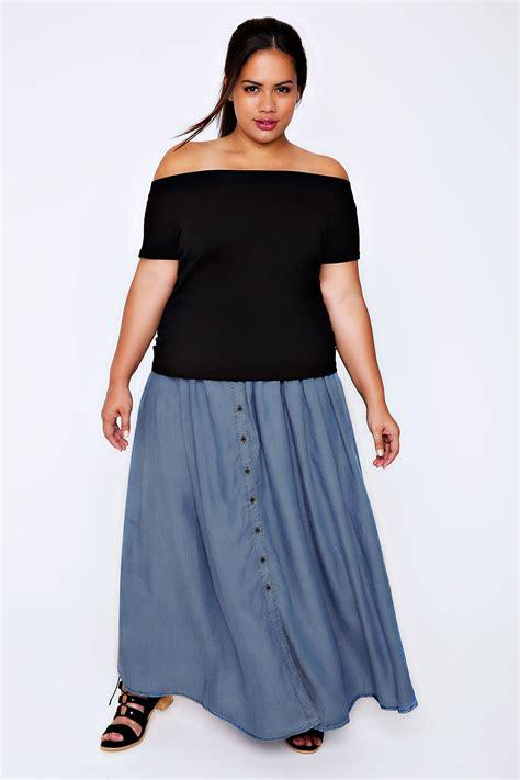 Maxi Blue denim blue chambray maxi skirt plus size 16 to 32