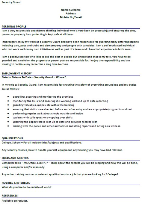 curriculum vitae sle for security officer security guard cv exle icover org uk