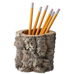 Bedroom Pranks cork bark pencil holder desktop receptacle the green head