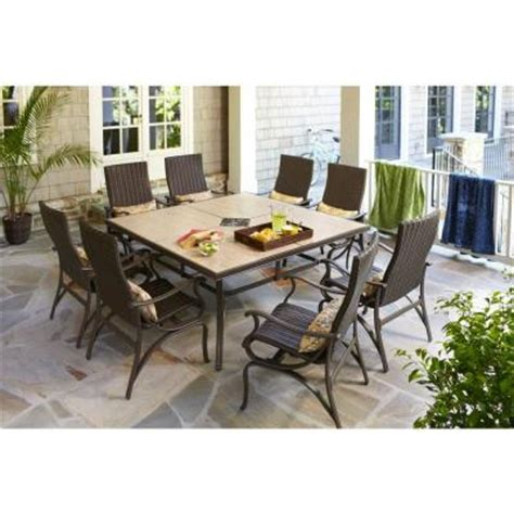 home depot patio furniture sets hton bay pembrey 9 patio dining set with lumbar