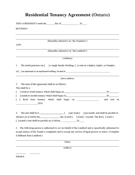 free tenancy agreement template residential tenancy agreement free