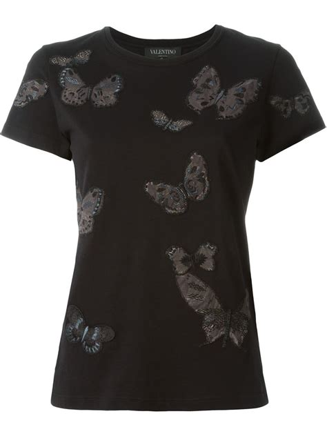 Butterfly Embroidered Shirt valentino butterflies embroidered t shirt in black lyst