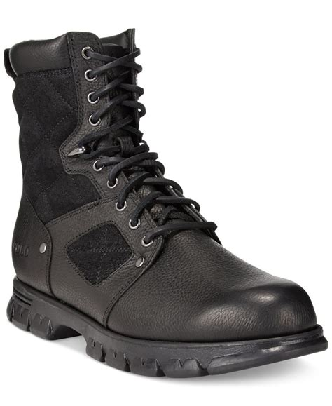 black polo boots polo ralph dennison lace up boots in black for