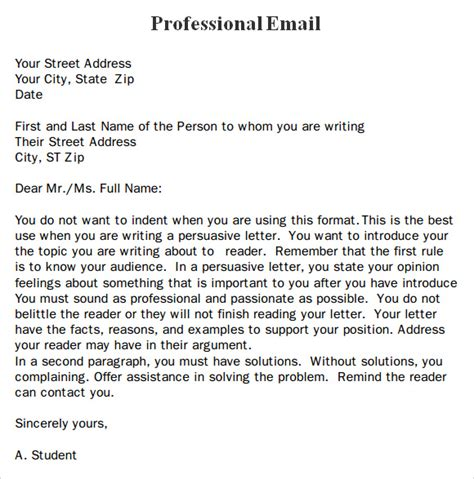 business letter email template professional email template 7 free for pdf