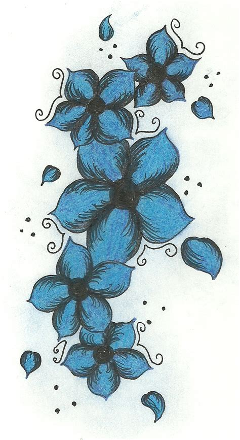 blue flower tattoo designs blue flowers design by s on deviantart