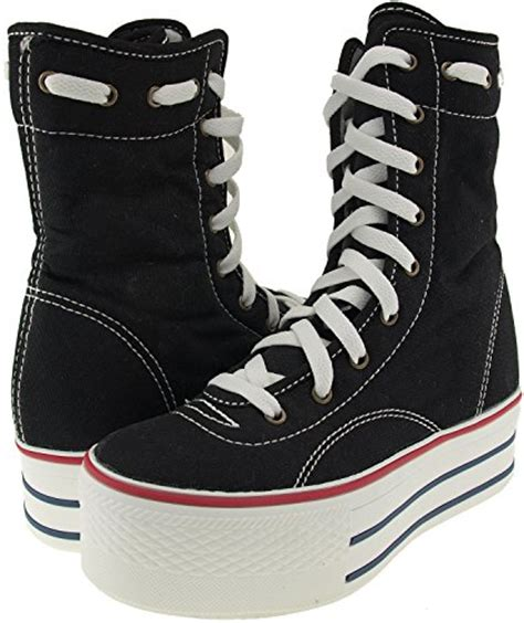 maxstar 9 holes middle boots canvas platform sneakers