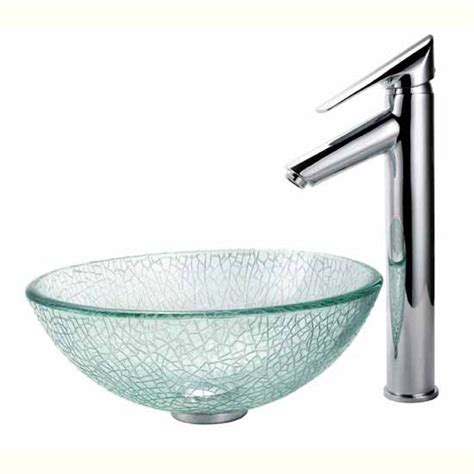 12 inch vessel bathroom sink homecomforts kraus broken 14 inch glass vessel sink and decus bathroom faucet chrome set