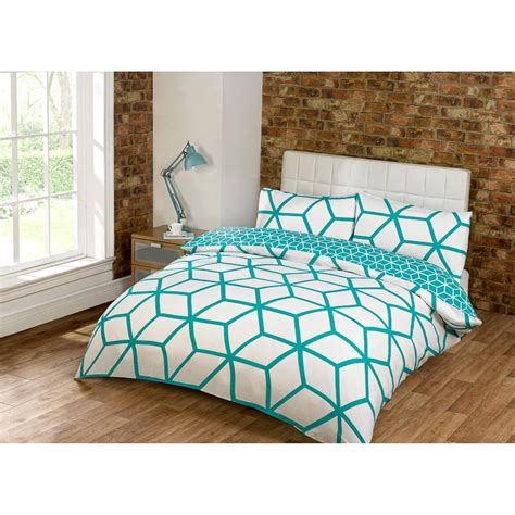 geometric bedding b m georgia geometric double duvet set teal bedding