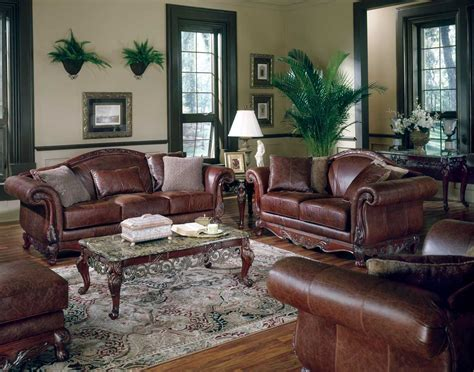 Classic Home Decor With Brown Leather Sofa Quecasita